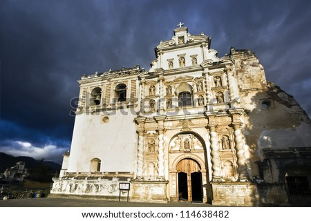 San Francisco Church in Antigua, Guatemala. - stock photo