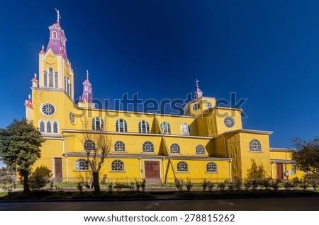 San Francisco church in Castro, Chiloe island, Chile - stock photo