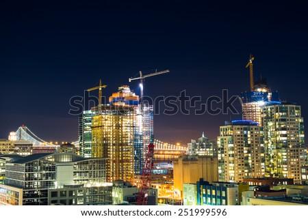 San Francisco City at Night - Construction Cranes - stock photo