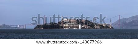 San Francisco City Bay and Alcatraz Island Califormia USA - stock photo