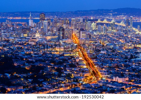 San Francisco City from Twin Peak - stock photo