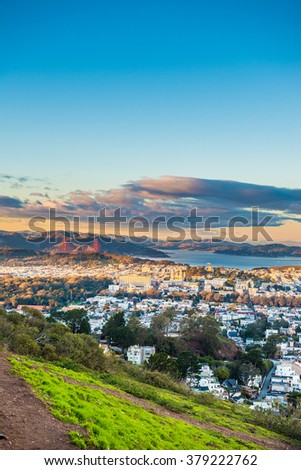 San Francisco City from Twin Peak - stock photo