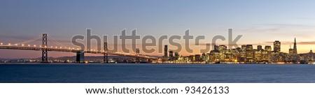 San Francisco city lights at dusk,california,fall 2011,shot from treasure island. - stock photo