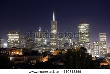 San Francisco City Skyline Office Buildings Trans America Tower California - stock photo