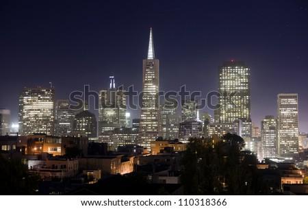 San Francisco City Skyline Office Buildings Trans America Tower California - stock photo