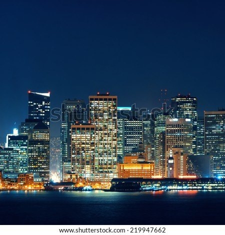 San Francisco city skyline with urban architectures at night. - stock photo