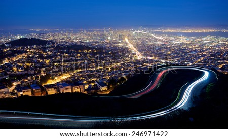 San Francisco cityscape and city lights at night - stock photo