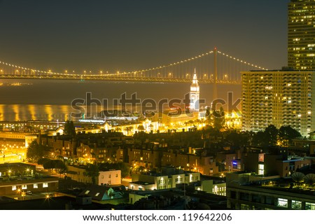 San Francisco cityscape at night - stock photo