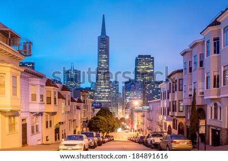San Francisco cityscape at night. - stock photo