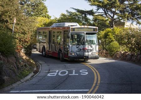 SAN FRANCISCO - DECEMBER 30: Public transport vehicle on December 30, 2013 in San Francisco. - stock photo