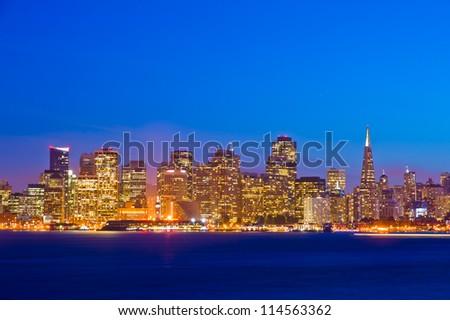 San Francisco downtown at night - stock photo