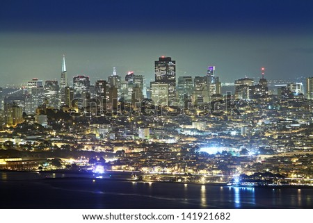 San Francisco downtown at night - stock photo