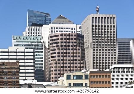San Francisco downtown buildings architecture California.