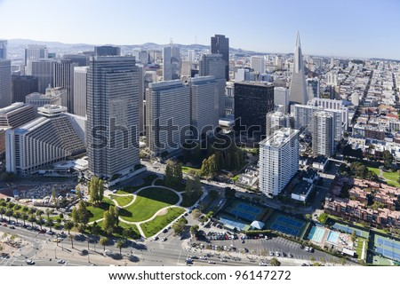San Francisco Downtown, California, aerial view - stock photo