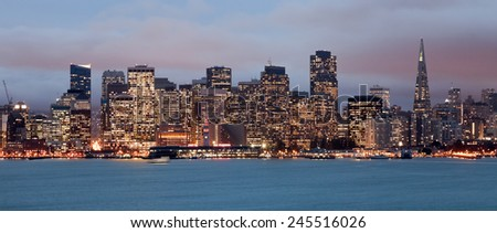 San Francisco Downtown in the twilight, California - stock photo