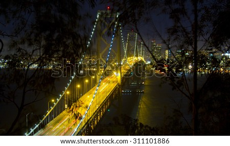 San Francisco Downtown skyline at Night across the Bay in California - stock photo