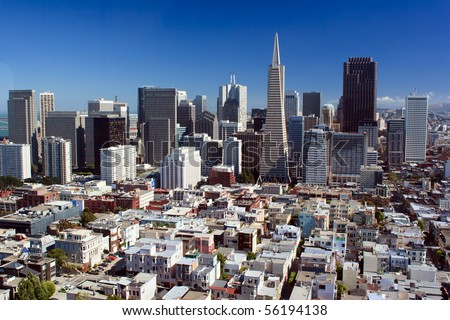 San Francisco Downtown Skyline view from Coit Tower - stock photo