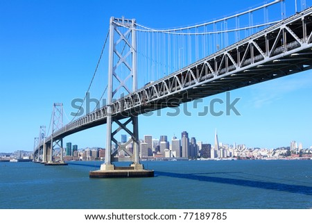 San Francisco downtown under Bay Bridge, USA - stock photo