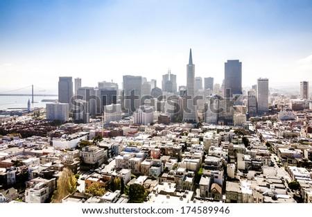 San Francisco financial district downtown panorama - stock photo