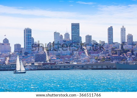 San Francisco from water with yacht on foreground - stock photo