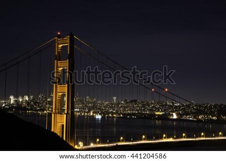 San Francisco Golden Gate Bridge at Night  - stock photo