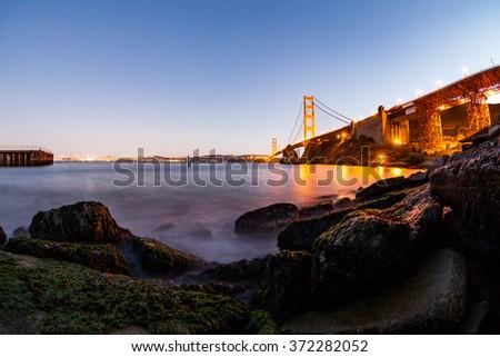 San Francisco Golden Gate Bridge at sunset - stock photo