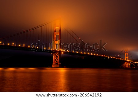 San Francisco Golden Gate Bridge Night and Fog