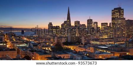 San Francisco. Image of San Francisco skyline with Bay Bridge at twilight. - stock photo