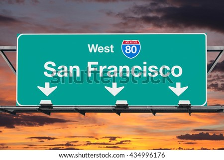 San Francisco  Interstate 80 west highway sign with sunrise sky. - stock photo