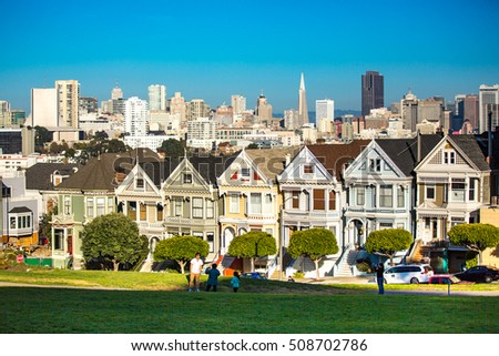 San Francisco - January 3, 2014: View of the Painted Ladies in San Francisco.