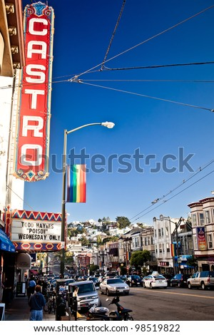 SAN FRANCISCO - JULY 21: Castro district on July 21, 2011 in San Francisco, USA. Castro is one of the United States' first and best-known gay neighborhoods, and it is currently its largest. - stock photo
