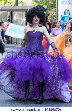 SAN FRANCISCO - JUNE 27: San Francisco Gay Pride Parade 2010. It is one of the largest gathering of LGBT people and allies in the USA. June 27, 2010 in San Francisco - stock photo