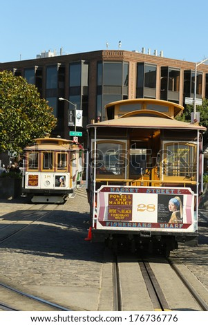 SAN FRANCISCO -MARCH 28: Cable car at Hyde and Beach Terminal on March 28, 2013 in San Francisco.The San Francisco cable car is world last permanently manually operated cable car system