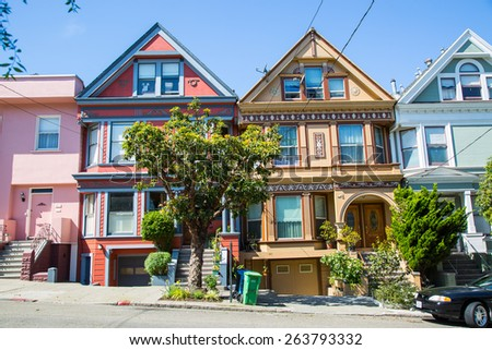 SAN FRANCISCO - March 2015: Historic victorian houses in San Francisco, CA - stock photo