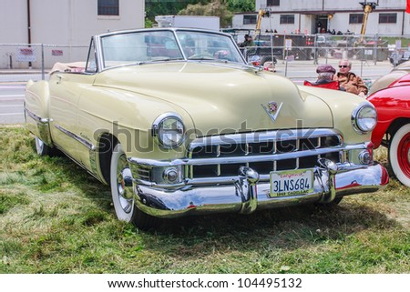 SAN FRANCISCO - MAY 27: A 1949 Cadillac Convertible is on display during the Golden Gate Bridge 75th Anniversary in San Francisco on May 27, 2012 - stock photo