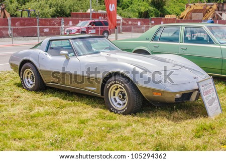 SAN FRANCISCO - MAY 27: A 1978 Chevrolet Corvette Stingray is on display during the Golden Gate Bridge 75th Anniversary in San Francisco on May 27, 2012