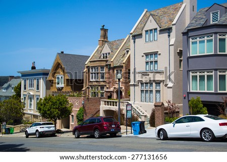 SAN FRANCISCO: May 2015, Large classic houses in San Francisco. - stock photo