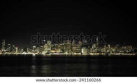 San Francisco Night Skyline as seen from Treasure Island - stock photo