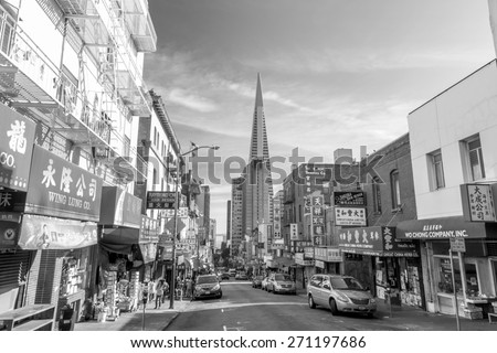 SAN FRANCISCO - October 22: Chinatown on October 22, 2014 in San Francisco, USA. San Francisco's Chinatown is one of North America's largest Chinatowns. It is also the oldest Chinatown in the USA - stock photo