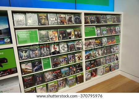 SAN FRANCISCO - OCTOBER 11: Rows of Xbox One on display inside Microsoft Windows Store during big sale in San Francisco who's technology is in most modern computers in San Francisco October 11, 2015. - stock photo