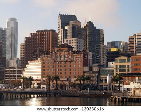 San Francisco Pier, Cityscape, and Rocketship seen from San Francisco Bay. - stock photo