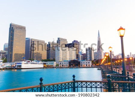 San Francisco Pier 7 sunset in California USA - stock photo