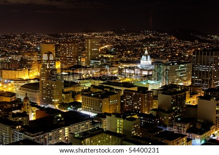 San Francisco's City Hall at night as seen from the Hilton Hotel - stock photo