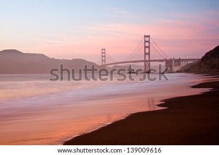 San Francisco's Famous Golden Gate Bridge at Dusk - stock photo