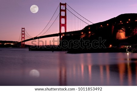 San Francisco's Landmark Golden Gate Bridge at Sunset and Full Super Moon.