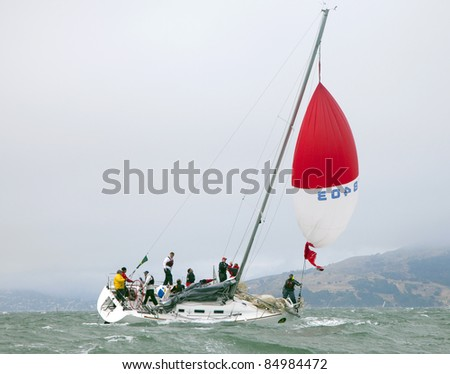SAN FRANCISCO - SEPT 10: Rolex Big Boat Series, Race 5, Sept 10, 2011, San Francisco. Summer and Smoke, a Beneteau 36.7 in trouble - stock photo