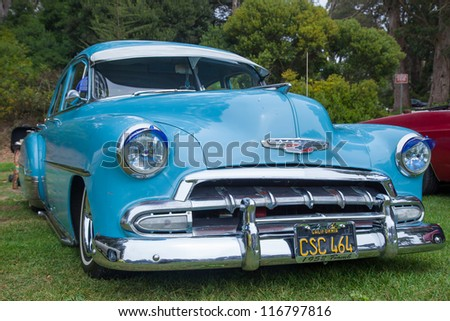 SAN FRANCISCO - SEPTEMBER 29: A 1952 Chevrolet Bel Air is on display during the 2012 Jimmy's Old Car Picnic in Golden Gate Park in San Francisco on September 29, 2012