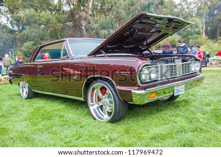 SAN FRANCISCO - SEPTEMBER 29: A 1964 Chevrolet Chevelle SS is on display during the 2012 Jimmy's Old Car Picnic in Golden Gate Park in San Francisco on September 29, 2012 - stock photo