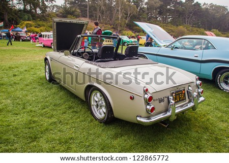 SAN FRANCISCO - SEPTEMBER 29: A 1969 Datsun 2000 Convertible Roadster is on display during the 2012 Jimmy's Old Car Picnic in Golden Gate Park in San Francisco on September 29, 2012