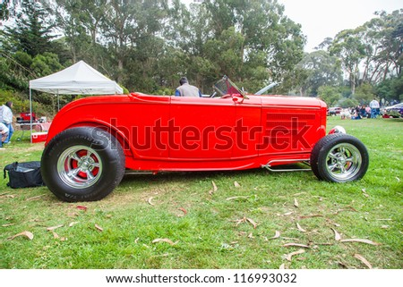 SAN FRANCISCO - SEPTEMBER 29: A 1930's custom built hot rod is on display during the 2012 Jimmy's Old Car Picnic in Golden Gate Park in San Francisco on September 29, 2012 - stock photo